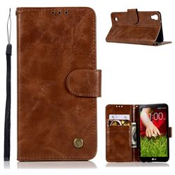 Luxury Retro Leather Wallet Case for LG X Power LS755 K220DS K220 US610 K450 - Brown