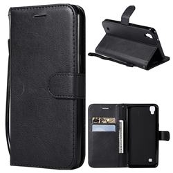 Retro Greek Classic Smooth PU Leather Wallet Phone Case for LG X Power LS755 K220DS K220 US610 K450 - Black