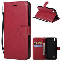 Retro Greek Classic Smooth PU Leather Wallet Phone Case for LG X Power LS755 K220DS K220 US610 K450 - Red