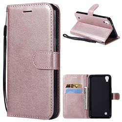 Retro Greek Classic Smooth PU Leather Wallet Phone Case for LG X Power LS755 K220DS K220 US610 K450 - Rose Gold