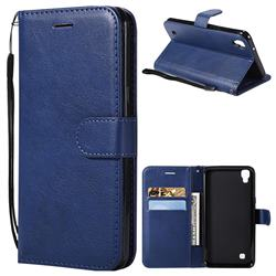 Retro Greek Classic Smooth PU Leather Wallet Phone Case for LG X Power LS755 K220DS K220 US610 K450 - Blue