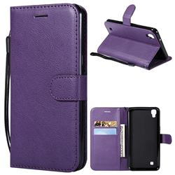 Retro Greek Classic Smooth PU Leather Wallet Phone Case for LG X Power LS755 K220DS K220 US610 K450 - Purple