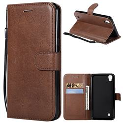 Retro Greek Classic Smooth PU Leather Wallet Phone Case for LG X Power LS755 K220DS K220 US610 K450 - Brown