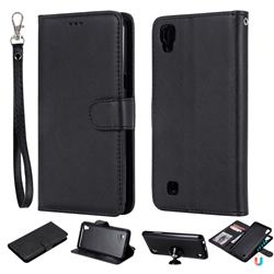 Retro Greek Detachable Magnetic PU Leather Wallet Phone Case for LG X Power LS755 K220DS K220 US610 K450 - Black