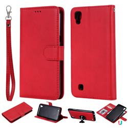 Retro Greek Detachable Magnetic PU Leather Wallet Phone Case for LG X Power LS755 K220DS K220 US610 K450 - Red