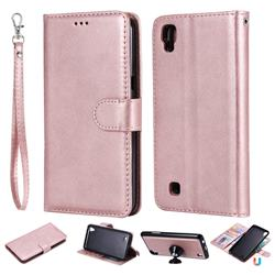 Retro Greek Detachable Magnetic PU Leather Wallet Phone Case for LG X Power LS755 K220DS K220 US610 K450 - Rose Gold