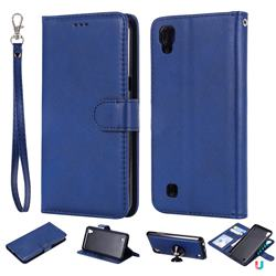 Retro Greek Detachable Magnetic PU Leather Wallet Phone Case for LG X Power LS755 K220DS K220 US610 K450 - Blue
