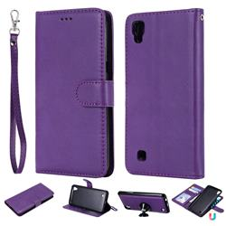 Retro Greek Detachable Magnetic PU Leather Wallet Phone Case for LG X Power LS755 K220DS K220 US610 K450 - Purple