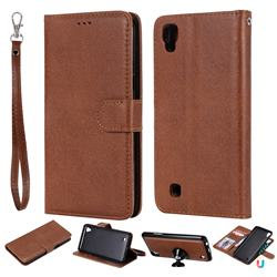 Retro Greek Detachable Magnetic PU Leather Wallet Phone Case for LG X Power LS755 K220DS K220 US610 K450 - Brown