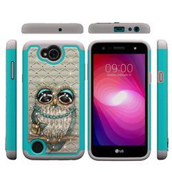 Sweet Gray Owl Studded Rhinestone Bling Diamond Shock Absorbing Hybrid Defender Rugged Phone Case Cover for LG X Power2