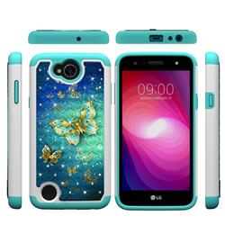 Gold Butterfly Studded Rhinestone Bling Diamond Shock Absorbing Hybrid Defender Rugged Phone Case Cover for LG X Power2