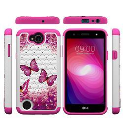 Rose Butterfly Studded Rhinestone Bling Diamond Shock Absorbing Hybrid Defender Rugged Phone Case Cover for LG X Power2