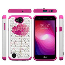 Watercolor Studded Rhinestone Bling Diamond Shock Absorbing Hybrid Defender Rugged Phone Case Cover for LG X Power2