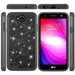 Glitter Rhinestone Bling Shock Absorbing Hybrid Defender Rugged Phone Case Cover for LG X Power2 - Black