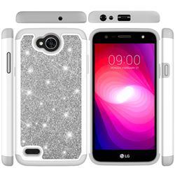 Glitter Rhinestone Bling Shock Absorbing Hybrid Defender Rugged Phone Case Cover for LG X Power2 - Gray