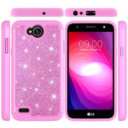 Glitter Rhinestone Bling Shock Absorbing Hybrid Defender Rugged Phone Case Cover for LG X Power2 - Pink