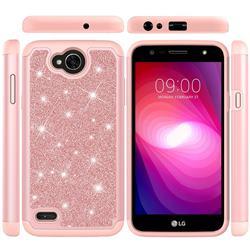 Glitter Rhinestone Bling Shock Absorbing Hybrid Defender Rugged Phone Case Cover for LG X Power2 - Rose Gold