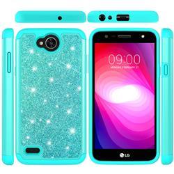 Glitter Rhinestone Bling Shock Absorbing Hybrid Defender Rugged Phone Case Cover for LG X Power2 - Green