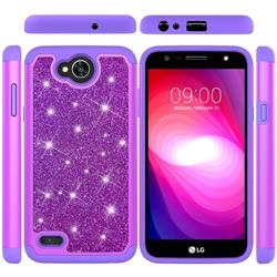 Glitter Rhinestone Bling Shock Absorbing Hybrid Defender Rugged Phone Case Cover for LG X Power2 - Purple