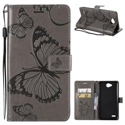 Embossing 3D Butterfly Leather Wallet Case for LG X Power2 - Gray