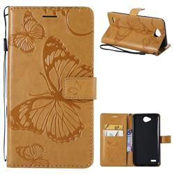 Embossing 3D Butterfly Leather Wallet Case for LG X Power2 - Yellow