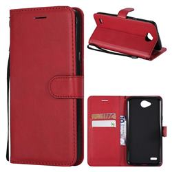Retro Greek Classic Smooth PU Leather Wallet Phone Case for LG X Power2 - Red