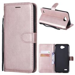 Retro Greek Classic Smooth PU Leather Wallet Phone Case for LG X Power2 - Rose Gold