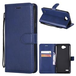 Retro Greek Classic Smooth PU Leather Wallet Phone Case for LG X Power2 - Blue