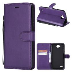 Retro Greek Classic Smooth PU Leather Wallet Phone Case for LG X Power2 - Purple