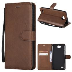 Retro Greek Classic Smooth PU Leather Wallet Phone Case for LG X Power2 - Brown