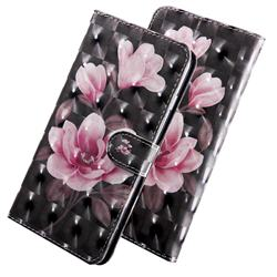 Black Powder Flower 3D Painted Leather Wallet Case for LG X Power2