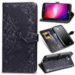 Embossing Imprint Mandala Flower Leather Wallet Case for LG X Power2 - Black