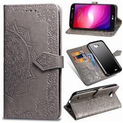 Embossing Imprint Mandala Flower Leather Wallet Case for LG X Power2 - Gray