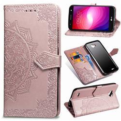 Embossing Imprint Mandala Flower Leather Wallet Case for LG X Power2 - Rose Gold