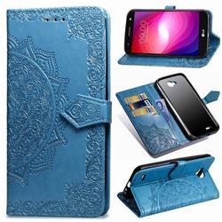 Embossing Imprint Mandala Flower Leather Wallet Case for LG X Power2 - Blue