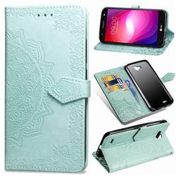 Embossing Imprint Mandala Flower Leather Wallet Case for LG X Power2 - Green