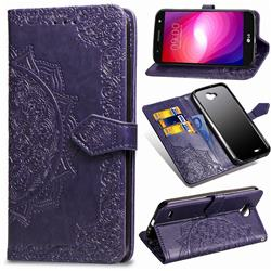Embossing Imprint Mandala Flower Leather Wallet Case for LG X Power2 - Purple