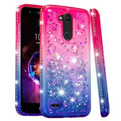 Diamond Frame Liquid Glitter Quicksand Sequins Phone Case for LG X Power 3 - Pink Blue