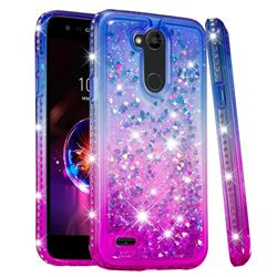 Diamond Frame Liquid Glitter Quicksand Sequins Phone Case for LG X Power 3 - Blue Purple