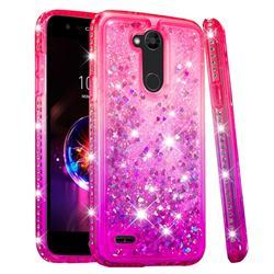 Diamond Frame Liquid Glitter Quicksand Sequins Phone Case for LG X Power 3 - Pink Purple