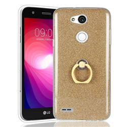 Luxury Soft TPU Glitter Back Ring Cover with 360 Rotate Finger Holder Buckle for LG X Power 3 - Golden