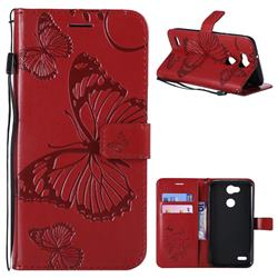 Embossing 3D Butterfly Leather Wallet Case for LG X Power 3 - Red