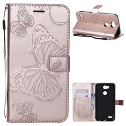 Embossing 3D Butterfly Leather Wallet Case for LG X Power 3 - Rose Gold