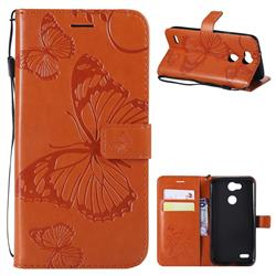 Embossing 3D Butterfly Leather Wallet Case for LG X Power 3 - Orange
