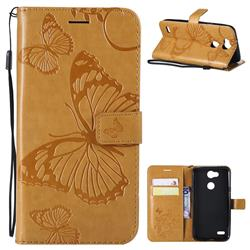 Embossing 3D Butterfly Leather Wallet Case for LG X Power 3 - Yellow