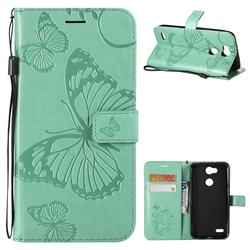 Embossing 3D Butterfly Leather Wallet Case for LG X Power 3 - Green