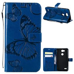 Embossing 3D Butterfly Leather Wallet Case for LG X Power 3 - Blue