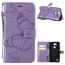 Embossing 3D Butterfly Leather Wallet Case for LG X Power 3 - Purple