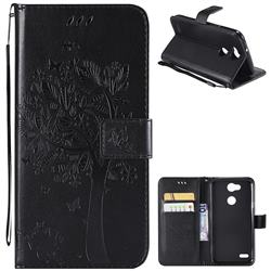 Embossing Butterfly Tree Leather Wallet Case for LG X Power 3 - Black