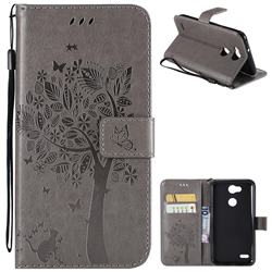 Embossing Butterfly Tree Leather Wallet Case for LG X Power 3 - Grey